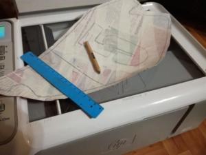 сканируем лекало, разделяя его на 2 части