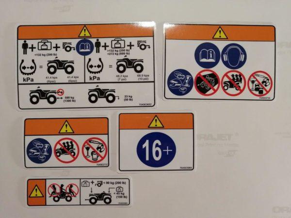 Эксплуатационные наклейки безопасности на квадроциклы